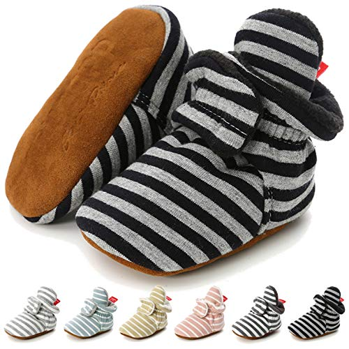 CENCIRILY Newborn Baby Girls Cotton Booties Infant Boys Slippers Stay on Sock Soft Shoes Non Skid Ankle Boots with Grippers Winter Warm First Walkers Crib Shoes