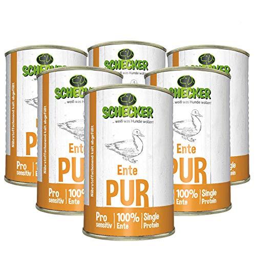 Schecker Dogreform 6X 410g Ente PUR - Nassfutter - für empfindliche bis sehr empfindliche Hunde - getreidefrei - glutenfrei - geeignet zum BARFen