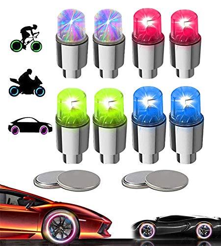 KYECOCO 8 Stück LED Ventilkappen Fahrrad Reifen Beleuchtung Speichenlicht Fahrrad Ventilschaftkappe Licht Autozubehör für Fahrrad Auto Motorrad oder LKW mit 10 Zusätzlichen Batterien (Mehrfarbig)