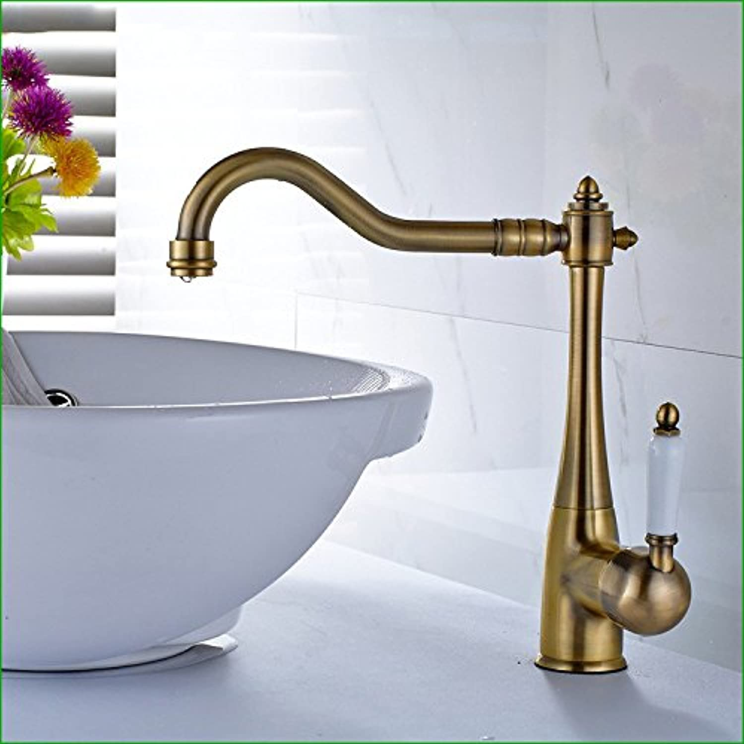 Hlluya Professional Sink Mixer Tap Kitchen Faucet The sink faucet full copper bluee ceramic handle to redate the antique table basin faucets Mixer Taps