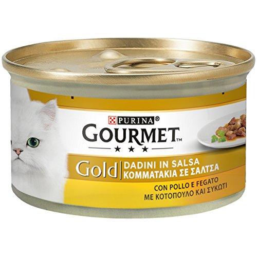 Purina Gourmet Gold Feuchtigkeit Katzenwürfel aus Sauce mit Huhn und Legier, 24 Dosen à 85 g, 24 x 85 g