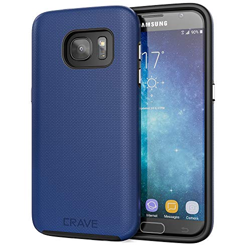Crave Dual Guard for Samsung S7 Case, Shockproof Protection Dual Layer Case for Samsung Galaxy S7 - Navy