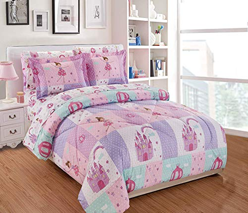 Elegant Homes Multicolor Pink Lavender Lilac Blue Princess Fairy Tales Palace Castle Design Comforter Bedding Set for Girls/Kids Bed in a Bag with Sheet Set # Fairytales (Twin Size)