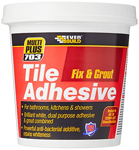 Everbuild FIX005 703 Fix And Grout Tile Adhesive, White, 750 g
