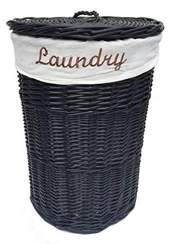 topfurnishing Black Wicker Round Small Laundry Basket + White Lining 30x42.5cm high