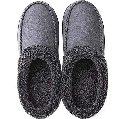 GILKUO Pantofole Uomo Invernali Caldo Peluche Ciabatte Pelle Mocassini da Casa Loafer Zoccoli Memory Foam Sabot Grigio 46 47