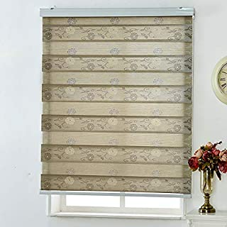 Jacquard Roller Blind,Pleated Shade Double Venetian Blinds Lift Sunshade Sunscreen Hand-Drawn Living Room Bedroom Bathroom-Beige 66x162cm(26x64inch)