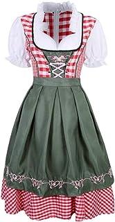 Mxssi Donna Bavarese Dirndl Set - Tradizionale Costume a Maniche Corte Donna Vestito Dirndl per Oktoberfest Carnevale Hall...