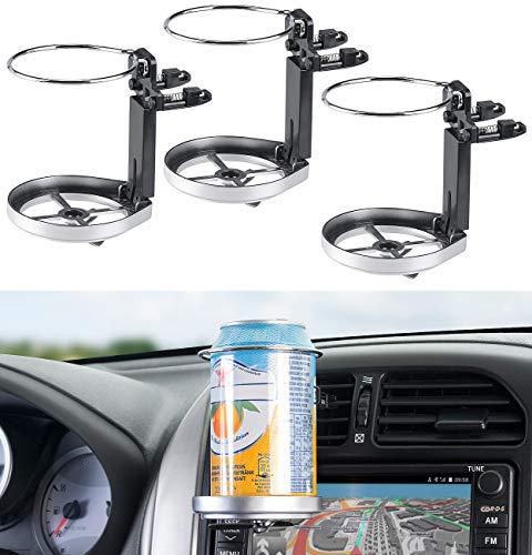 Lescars Flaschenhalter Auto: 3er-Set Auto-Getränkehalter für Lüftungsgitter, 10 cm hoch, 7 cm Ø (Kaffeebecherhalter)