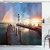 ABAKUHAUS Duschvorhang, Klares Wetter Sonnenbogen un Untergang an Einen Leuchtturm Hinwegprallen Druck, Blickdicht aus Stoff mit 12 Ringen Waschbar Langhaltig Hochwertig, 175 X 200 cm