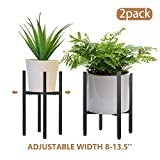 2 Pack Metal Plant Stand Indoor with Adjustable Width Fits 8 to 13.5 Inch Pots,Mid-Century Flower Holder for Corner Display-Black(Planter and Pot Not Included)
