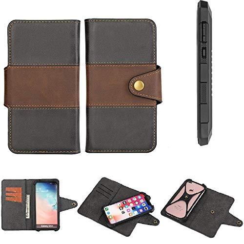 K-S-Trade® Handy-Hülle Schutz-Hülle Bookstyle Wallet-Case Für Cyrus CS 24 Bumper R&umschutz Schwarz-braun 1x