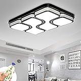 MYHOO 78W LED Regulable Luz de techo Diseño de moda moderna plafón,Lámpara de Bajo Consumo Techo para Dormitorio,Cocina,oficina,Lámpara de sala de estar,Color Negro (78W Regulable)