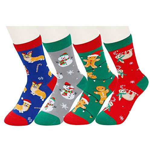 HAPPYPOP Kids Socks Boys Girls Novelty Fun Christmas Crew Socks, 4 Pack Gift Set