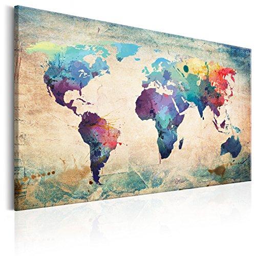murando - Mapamundi con Tablero para Clavar chinchetas 120x80 cm - Cuadro en Lienzo sintético - 1 Parte - Panel de Fibra - Mapa del Mundo Continente - Viajes geografia Colorido k-B-0050-v-a