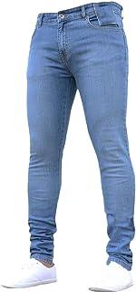 comprar comparacion Subfamily Pantalón Slim Denim de Color Liso para Hombre, Pure Color Denim Cotton Vintage Wash Hip Hop Pantalones de Trabaj...