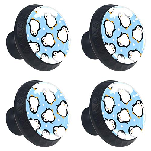Blauw Live Geel Lach Roze LOVERound Keukenkast Knoppen, Dressoir Lade Knoppen, Paddestoel Badkamer Kabinet 3.5×2.8CM/1.38×1.10IN Blauwe Stip Leuke Pinguïn