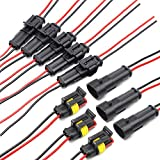 2 Pin Way Car Waterproof Electrical Connector HID Plug Auto Electrical Wire Connectors 1.5mm Series Terminal and Rubber Seal with Wire AWG Marine, 8 Pack