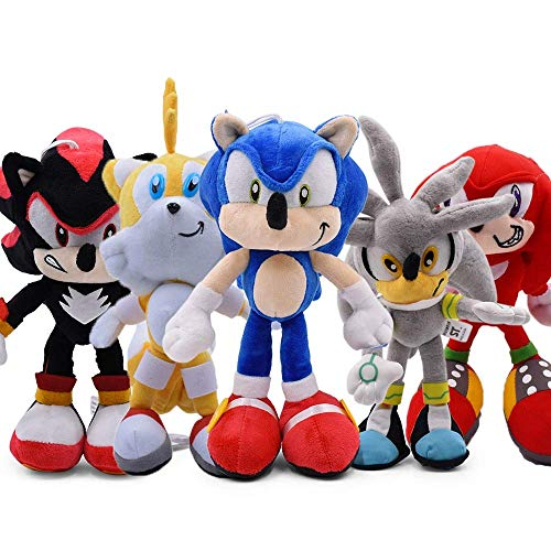 Soinc Plush Toys 5pcs 30cm Sonic Plush Doll Toys Sonic Shadow Amy Rose Cotton Soft Stuffed Game Doll Toys for Kids Chris Gift for Kids yuechuang