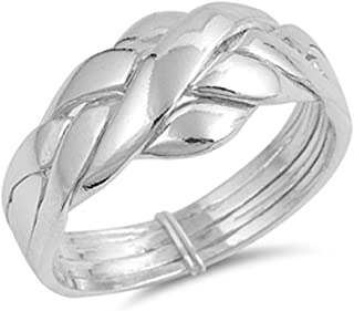 Double Accent Sterling Silver 4 pcs Band Puzzle Ring 11mm (Size 5 to 15)