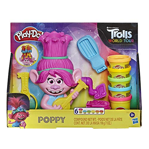 Play-Doh Trolls World Tour Rainbow Hair Poppy Styling Toy for Kids 3 Years and Up with 6 Non-Toxic Colors