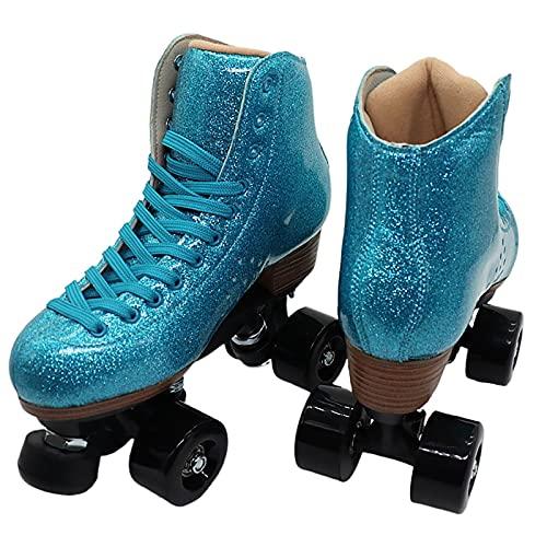 Patines dobles para mujer, patines de seguridad azul fluorescente para niños, patines de ruedas de fitness al aire libre para adultos de 4 ruedas, regalo(Size:40)