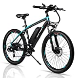 Rattan 26 Inch Electric Mountain Bicycle 7 Speed E-Bike 36V 10.4Ah Lithium Battery 350W Electric Bike Max 80 Miles Adult Assisted E-Bike Electric Bike for Adults with I-PAS Power Recharge System