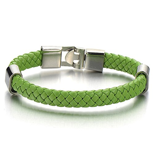 COOLSTEELANDBEYOND Helle Grün Herren Damen Geflochtenes Leder-Armband Echtem Leder Verwobenen Design