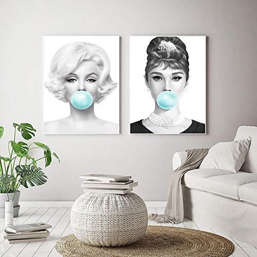 zszy Marilyn Monroe Kauw groene kauwgom canvasdruk muurkunst afbeelding Audrey Hepburn schilderij poster voor woonkamer decoratie 40x60cmx2pcs geen lijst