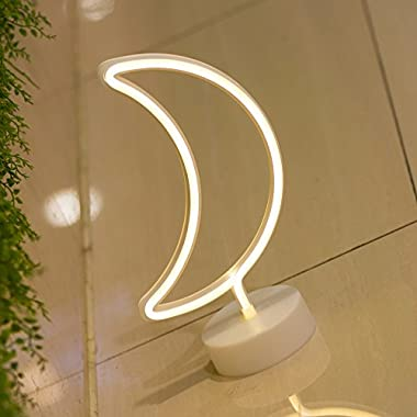 DELICORE Moon Neon Signs, LED Neon Light Sign with Holder Base For Home Party Birthday Bedroom Bedside Table Decoration Children Kids Gifts (Moon with holder)