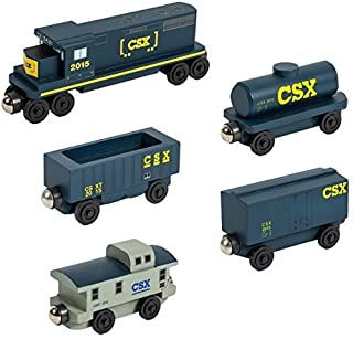 Whittle Shortline Railroad CSX-T GP-38 Engine - 5 Car Set - Wooden Toy Train