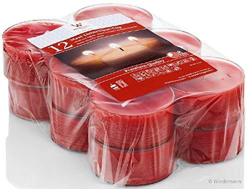 wiedemann kerzen Maxi Teelichter Rot 21 x Ø 56 mm, 12 Stück, rußarm, hochwertiger Docht, Kerzen Made in Germany