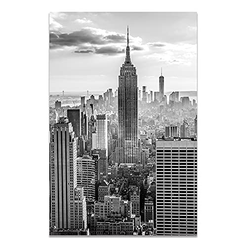 Moderno negro blanco ciudad de Nueva York hito edificio Empire State paisaje centro de negocios lienzo pintura arte de pared póster sala de estar oficina decoración del hogar mural