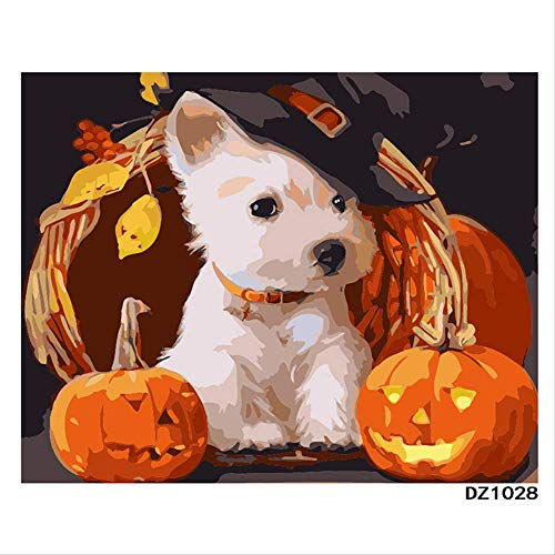 weilan1999 Digitale Malerei Rahmenlos Malerei VonHand Bemalt Feiertag Halloween Kürbisse Welpen Puzzle FärbungDIYDekorative Malerei40X50Cm