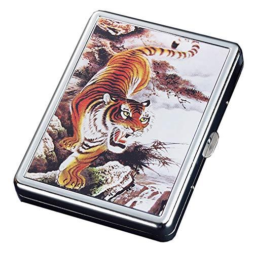 BNMY Zigarettenetui Mit Feuerzeug Zigarettenschachtel 20 STK. Normale Zigaretten Tragbare Zigaretten USB-Feuerzeuge 2 in 1 Wiederaufladbares Flammenloses Winddichtes Elektrisches Feuerzeug,D