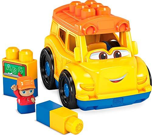 Mega Bloks Autobús escolar, juguete de construcción para niños + 1 año (Mattel GCX10)
