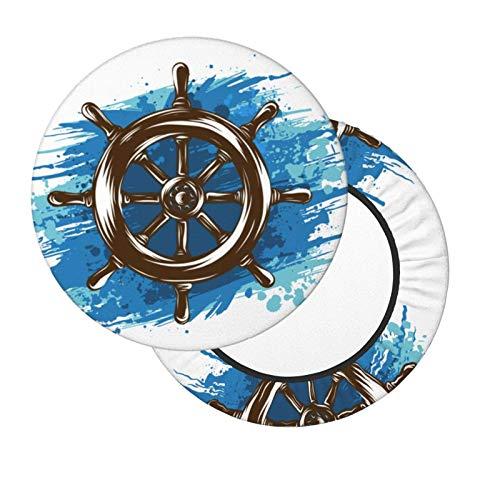 AEMAPE Cubierta de Cojines de Barra náutica Blanca de 14 Pulgadas con Rueda de Barco, Fundas de Asiento Redondas para sillas, taburetes elásticos Lavables, Funda