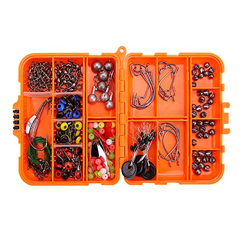Fancyes 213pcs Fishing Accessories Kit,Including Jig Hooks,Bullet Bass Casting Sinker Weights, Fishing Swivels Snaps,Sinker Slides,Fishing Set with Tackle Box - Orange