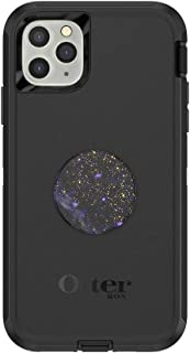 Otter + Pop for iPhone 11 Pro Max: OtterBox Defender Series Case with PopSockets Swappable PopTop - Black and Milky Daze