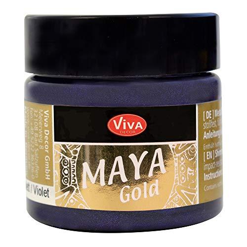 Viva Decor® Maya Gold (Violett, 45 ml) glänzende Metallic Farben zum Basteln - Acrylfarben Gold Metallic für Holz, Pappe, Beton, Papier, Leinwand uvm. - Made in Germany