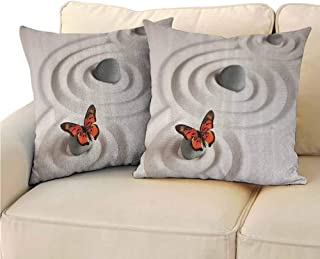 QIAOQIAOLO Pack of 2 Indoor Pillowcase Butterflies Decor Double-Sided Printing 20x20 inch Zen Rock on The Sand Butterfly Serenity Life Cycle Nature Meditation Decor LBeige and Orange