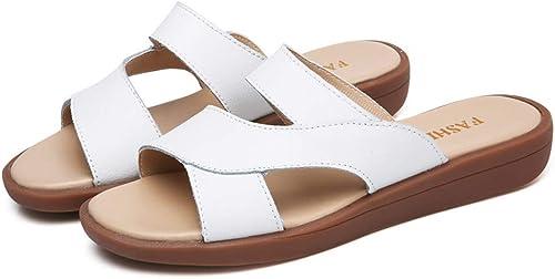 Summer New Ladies Sandales en Cuir Sandales de Plage Sandales Plates pour femmes-blanc-36
