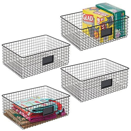 mDesign 4er-Set Allzweckkorb aus Metall – Aufbewahrungskorb mit Beschriftungsfeld für Küche, Vorratskammer etc. – kompakter und universeller Drahtkorb – mattschwarz