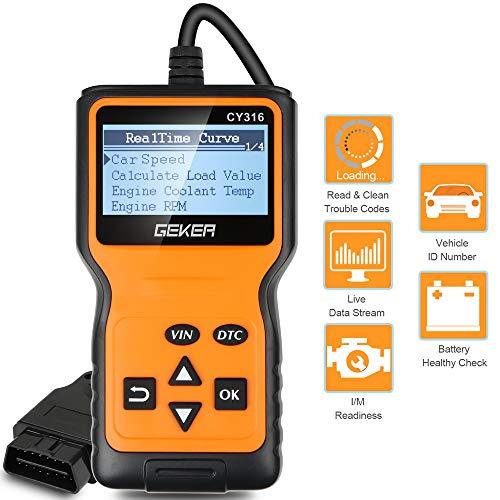 GEKER OBD2 Diagnosegerät,Auto Diagnosewerkzeuge Universal Handscanner OBDII Code-Scanner-Fahrzeug-Fehlercodeleser Fehlerauslesegerät