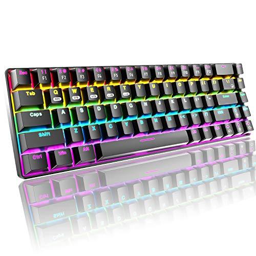 60{9f531b60b249224abb0df6f394ced077fd446096f9efc72667a9a21c164f8e03} kompakte mechanische Gaming-Tastatur, Bluetooth/2,4 GHz, kabellos/verdrahtet, Typ C, 3 Modi, 68 Tasten, Blauer Schalter, 16 Regenbogen-Hintergrundbeleuchtung, 3000 mAh wiederaufladbare Tastatur