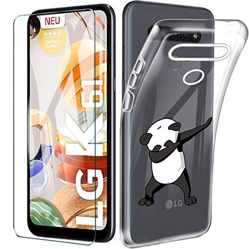 HYMY Hülle für LG K61 + 1 x Schutzfolie Panzerglas - Transparent Schutzhülle TPU Handytasche Tasche Durchsichtig Klar Silikon Hülle für LG K61 (6.53