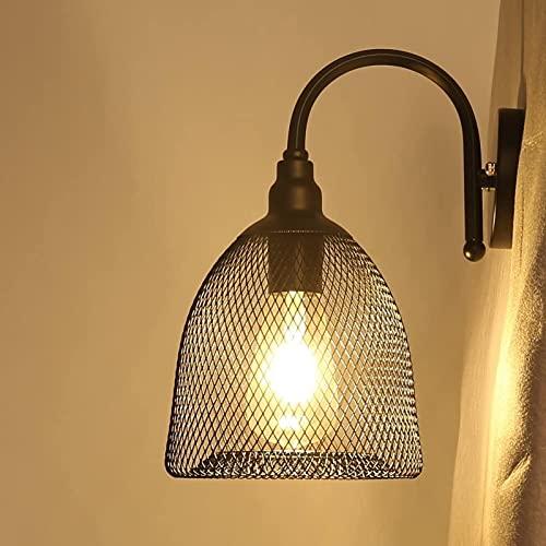 DZCGTP Applique da Parete Lampada da Parete a Gabbia in Filo Metallico Nero Chiaro Lampada da Parete Industriale Vintage Edison E26 E27 Base per corridoio