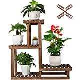 "COOGOU Wood Plant Stand Indoor Outdoor 4 Tiers Plant Rack Corner Planter Shelf Flower Pot Holder for Living Room Garden Patio Yard Porch (Windmill Design,Space Saving,27.6"",Small)"