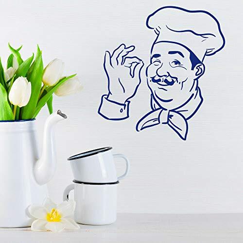 yaonuli Chef de Dibujos Animados Etiqueta de la Pared Gesto Divertido Papel Pintado Etiqueta de Vinilo Restaurante Cocina decoración 63X100cm