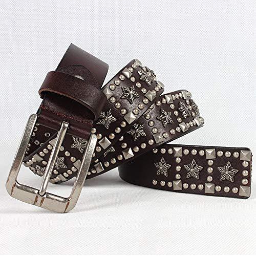 Cinturón tachonado de punk rock Cinturón unisex de plata de la hebilla del punk rock for hombre cinturones de cuero tachonado de la correa de cuero con tachuelas Pentagram para ropa casual - jeans, fa